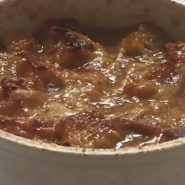 Toasted gluten-free bread and grated Gruyere Cheese top this yummy vegetarian version of French Onion soup