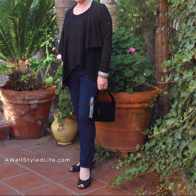 ddition of accessories and change of shoes take change this casual outfit to semi dressy.