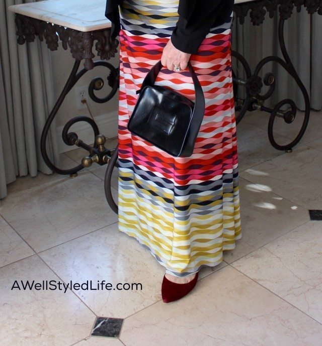Accessories and color help a sundress look appropriate on a warm winter day.