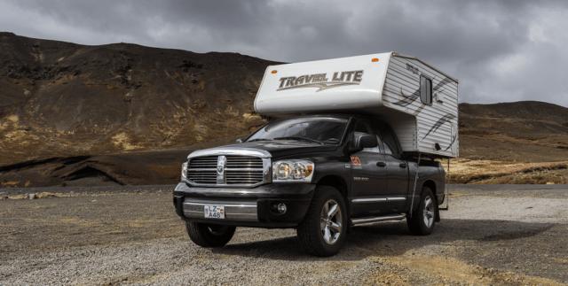 cal over camper in Iceland