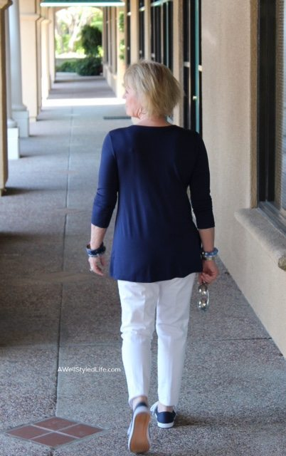 back view of perfectly Covered henley top