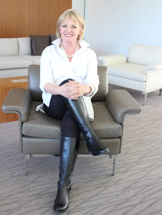 Lysse Vegan suede leggings tucked into riding boots