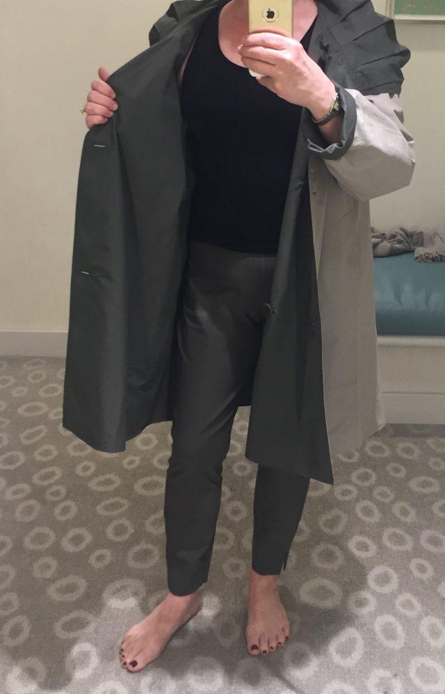 Eileen Fisher reversible raincoat in Stone and Oregano