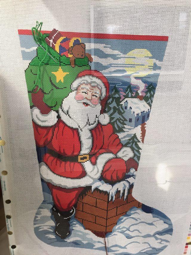 hand needlepoint Christmas Stocking