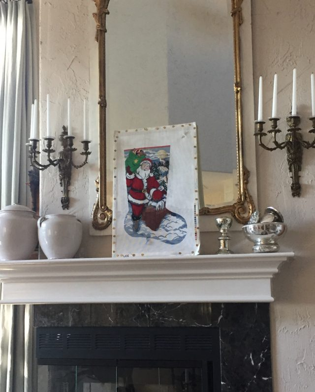storing my needlepoint in plain view on my mantle
