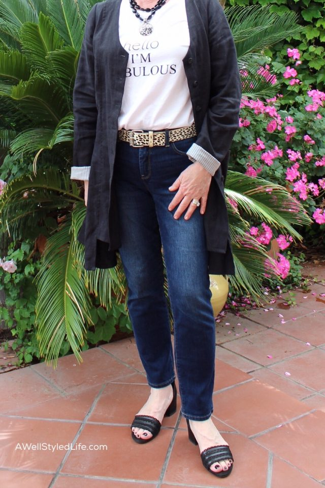 wearing Leopard belt on simple jeans