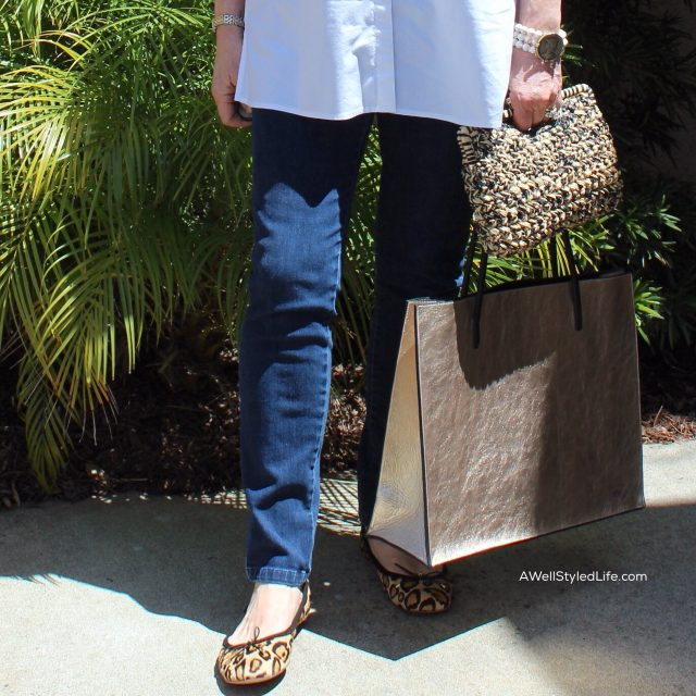 wearing Leopard flats with denim and a classic white shirt