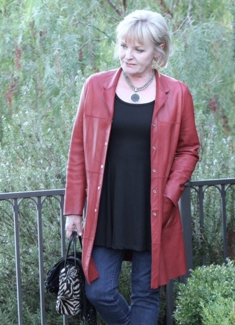 Red leather coat styled in midlife