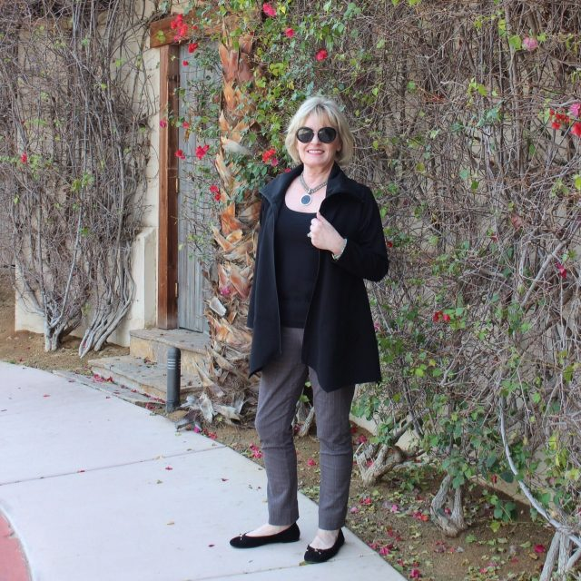 wearing Sassy Cowl Jacket from Artful Home