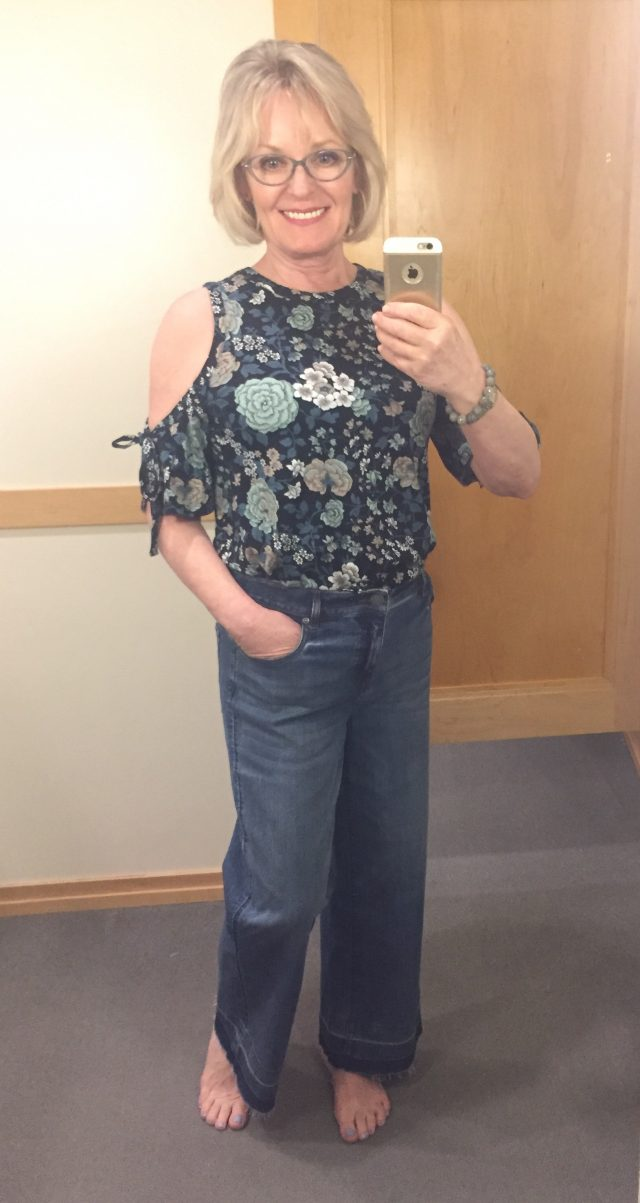 cold shoulder top and frayed hem jeans from the loft
