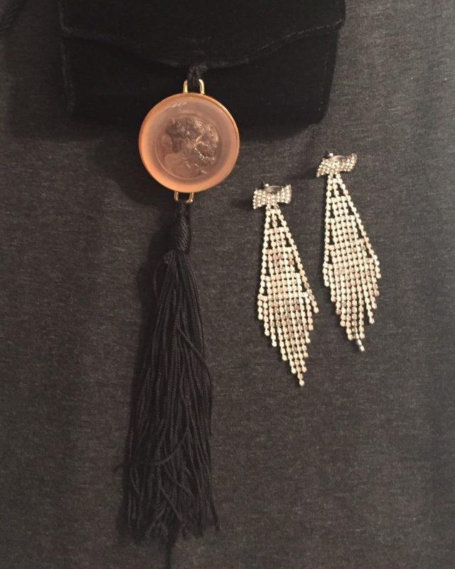 Vintage handbag and antique earrings