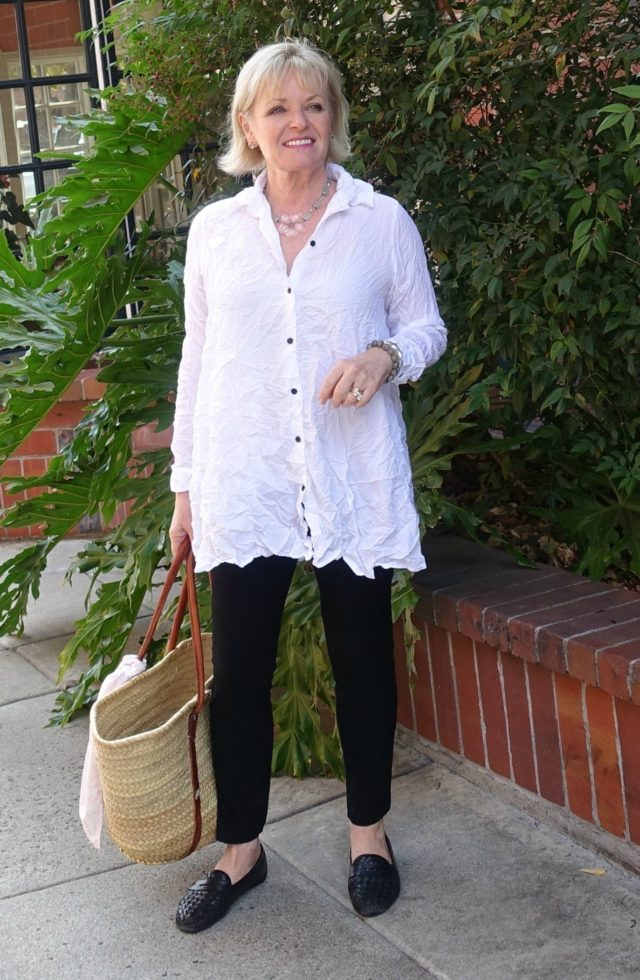 Jennifer Connolly of A Well Styled life wearing Keaton Shirt from Artful Home