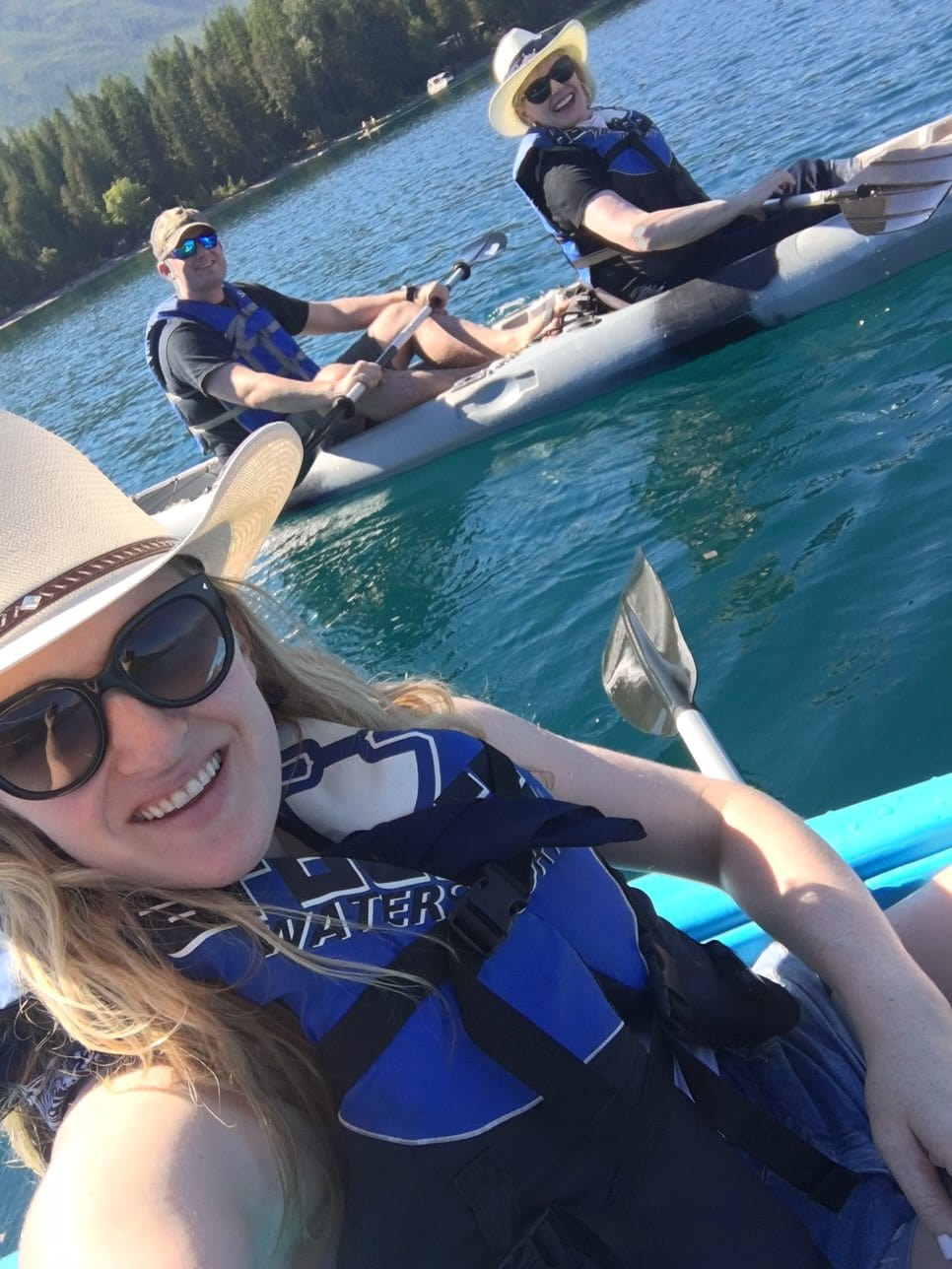 Jennifer Connolly of A Well Styled Life kayaking on Lake McDonald