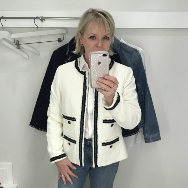 Jennifer Connolly of A Well Styled Life wearing Talbot's jacket