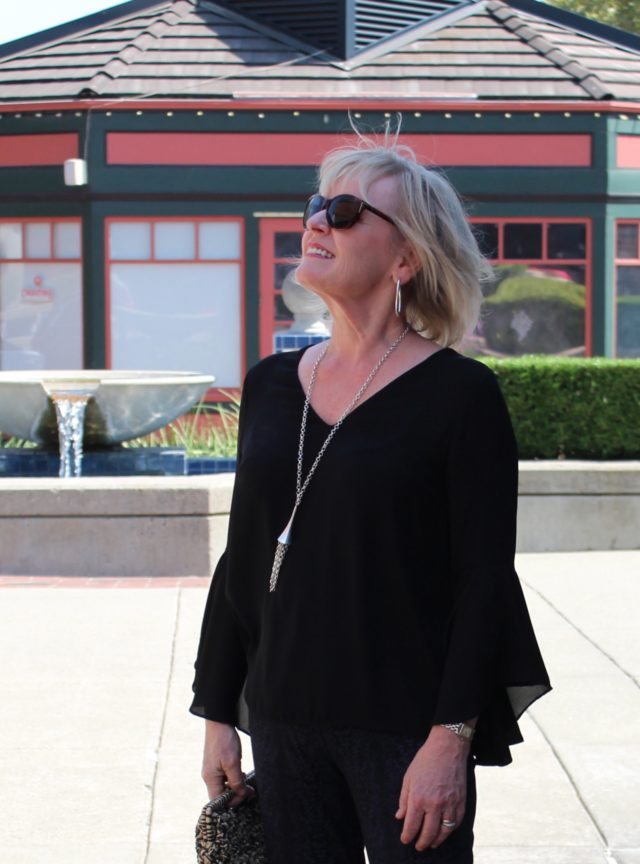 Jennifer Connolly of a well Styled Life wearing bell sleeved top