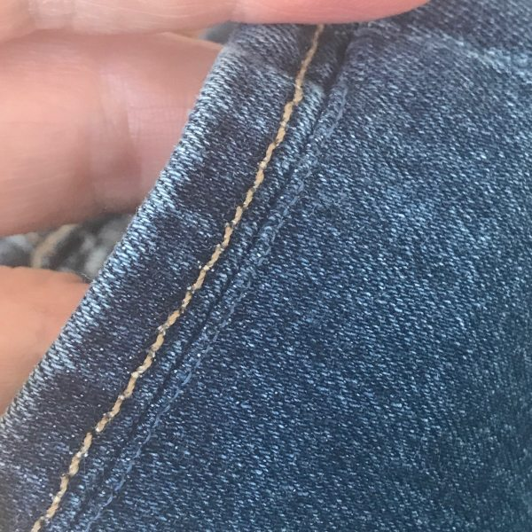 topstiching on newly hemmed jeans