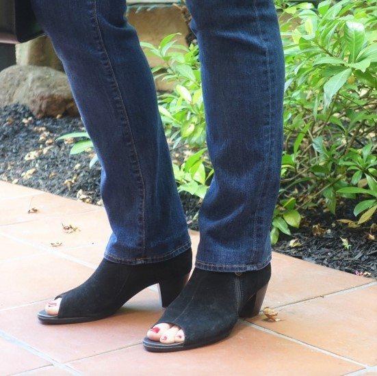 shortened jeans with the original hem