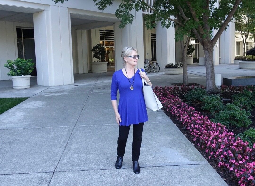 Jennifer Connolly of A Well Styled Life wearing V-neck Fit and Flare from Covered Perfectly