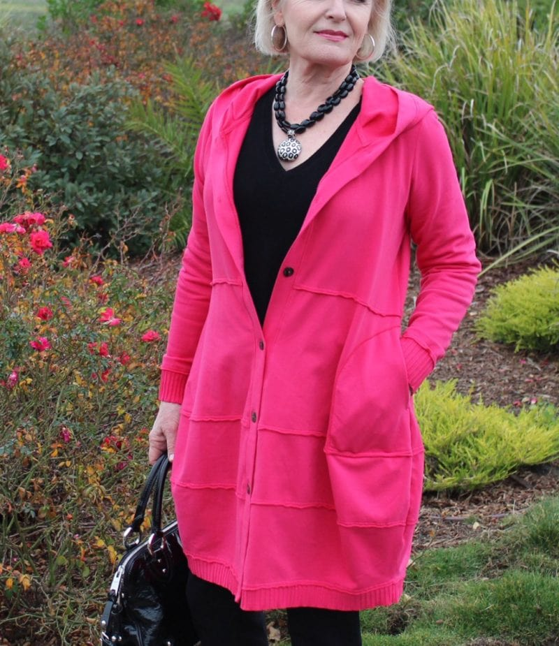 Jennifer Connolly of A Well Styled Life wearing Bee Hoodie by Fenini
