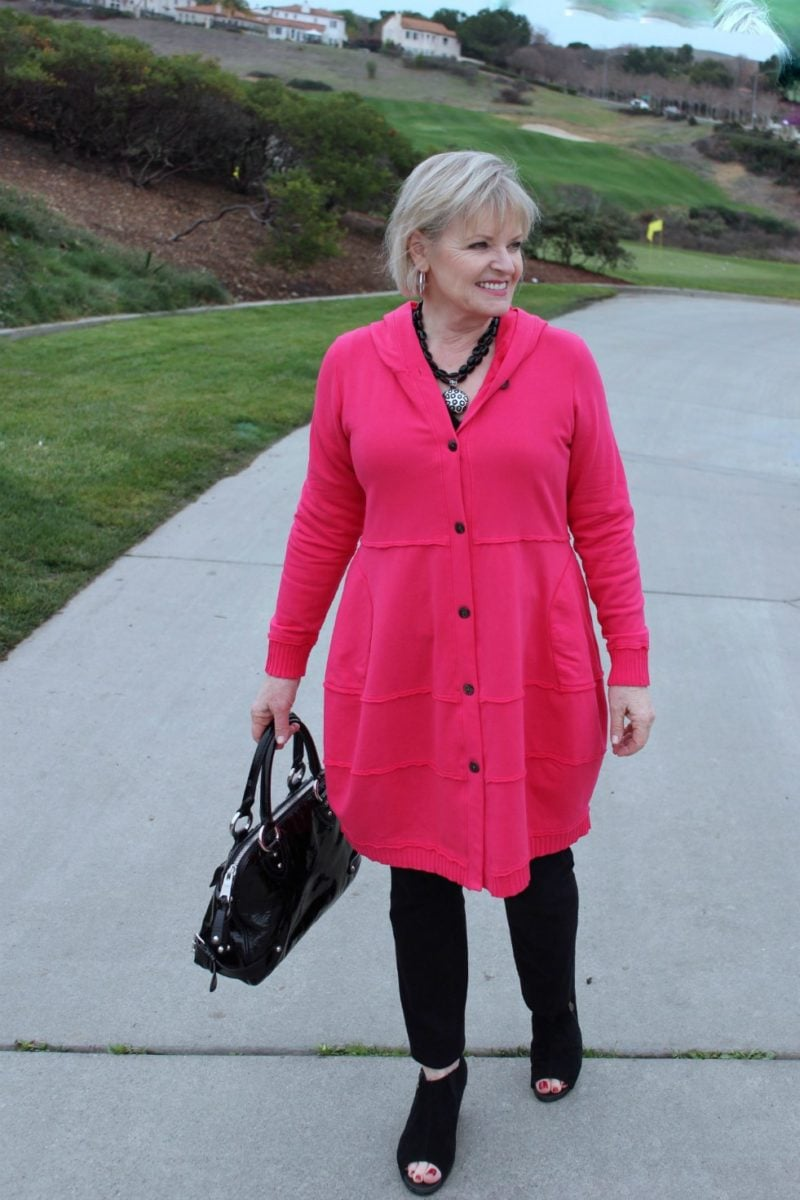Jennifer Connolly of A Well Styled Life wearing Bee hoodie in Pomegranate color