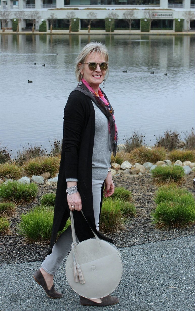 Jennifer Connolly of A Well Styled Life wearing a column of gray