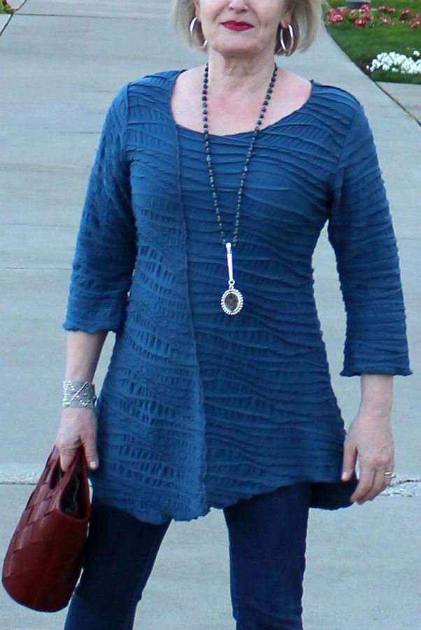 Jennifer Connolly of A Well Styled Life wearing Fiore Asymmetrical top from Artful Home