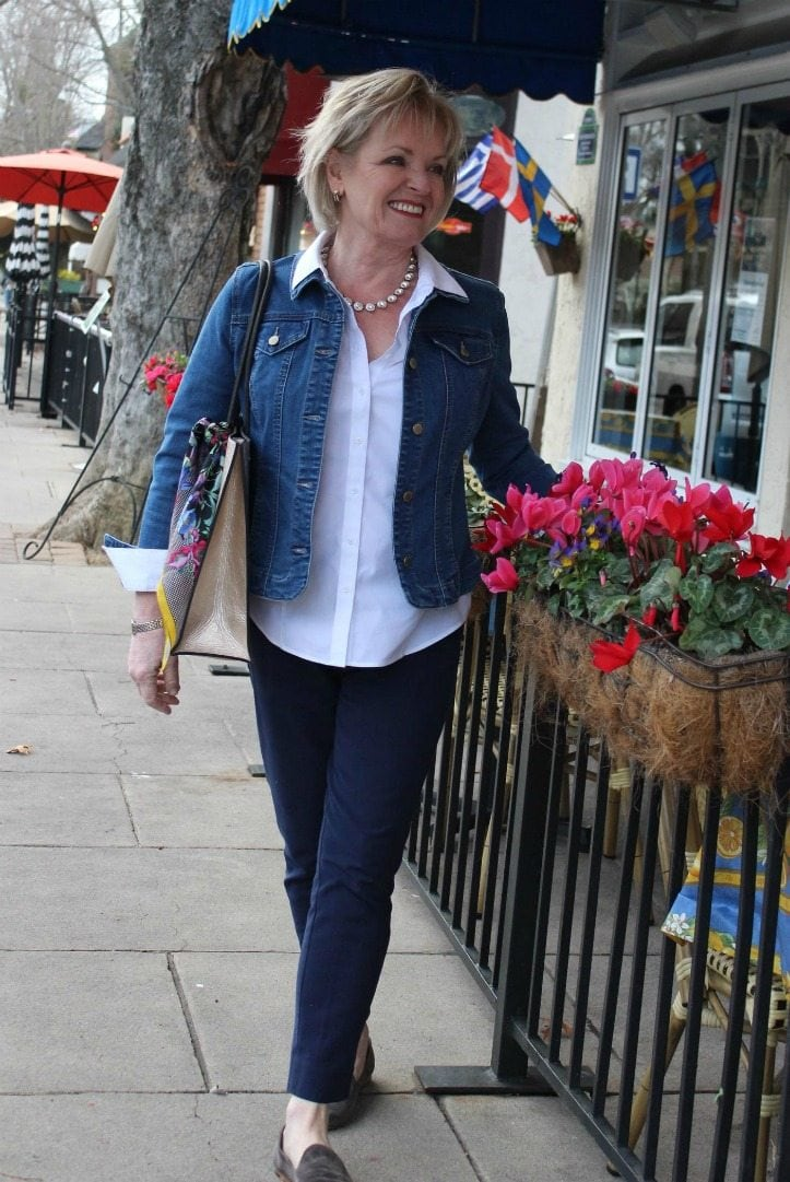 Jennifer Connolly of A Well Styled Life wearing jean jacket form Macy's