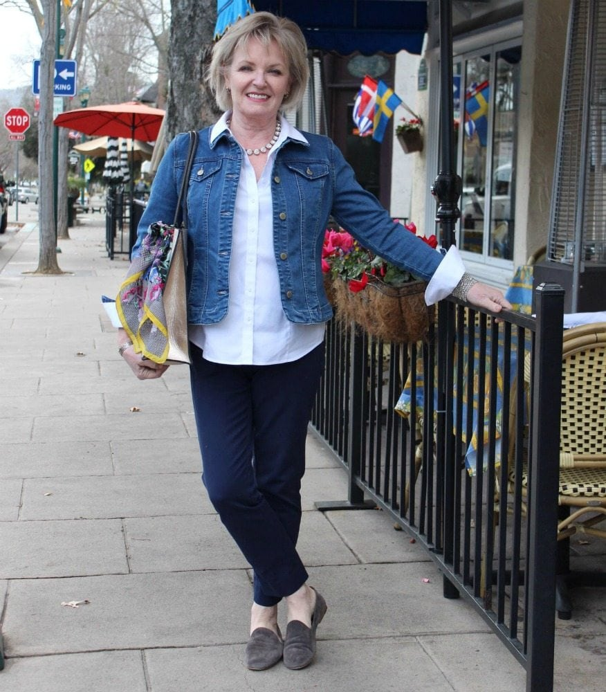 Jennifer Connolly of A Well Styled Life wearing Charter Club denim jacket