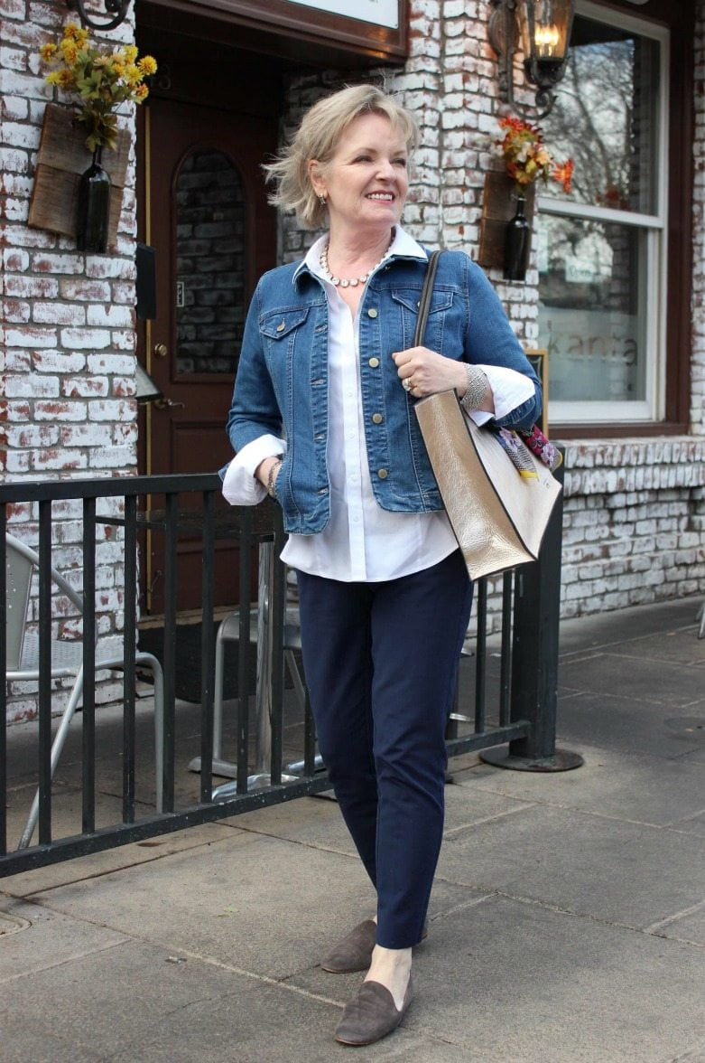 Jennifer Connolly of A Well Styled Life wearing comfort stretch pants from White House Black Market