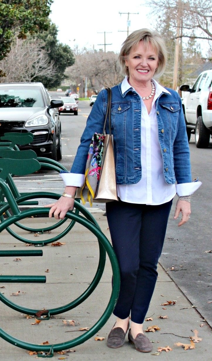 Jennifer Connolly of A Well Styled Life wearing Charter Club denim jacket from Macys'