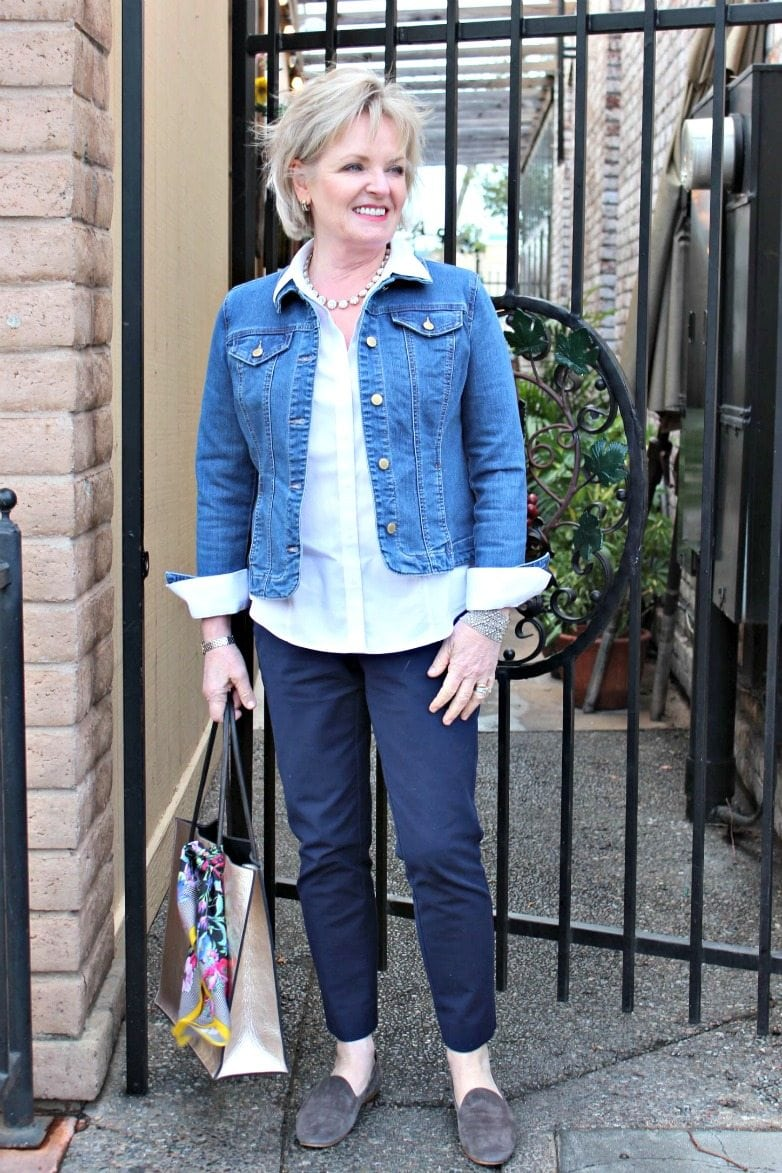 Jennifer Connolly of A Well Styled Life wearing denim jacket by Charter Club at Macy's