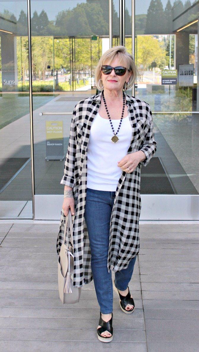 Jennifer Connolly of A Well Styled Life wearing dark plaid LILYSILK long shirt