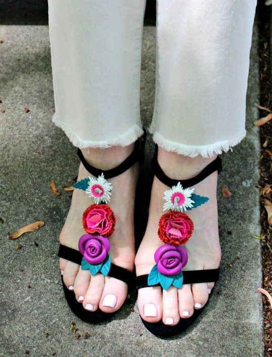 Jennifer Connolly of A Well Styled Life modeling Andley Sandals from Macy's