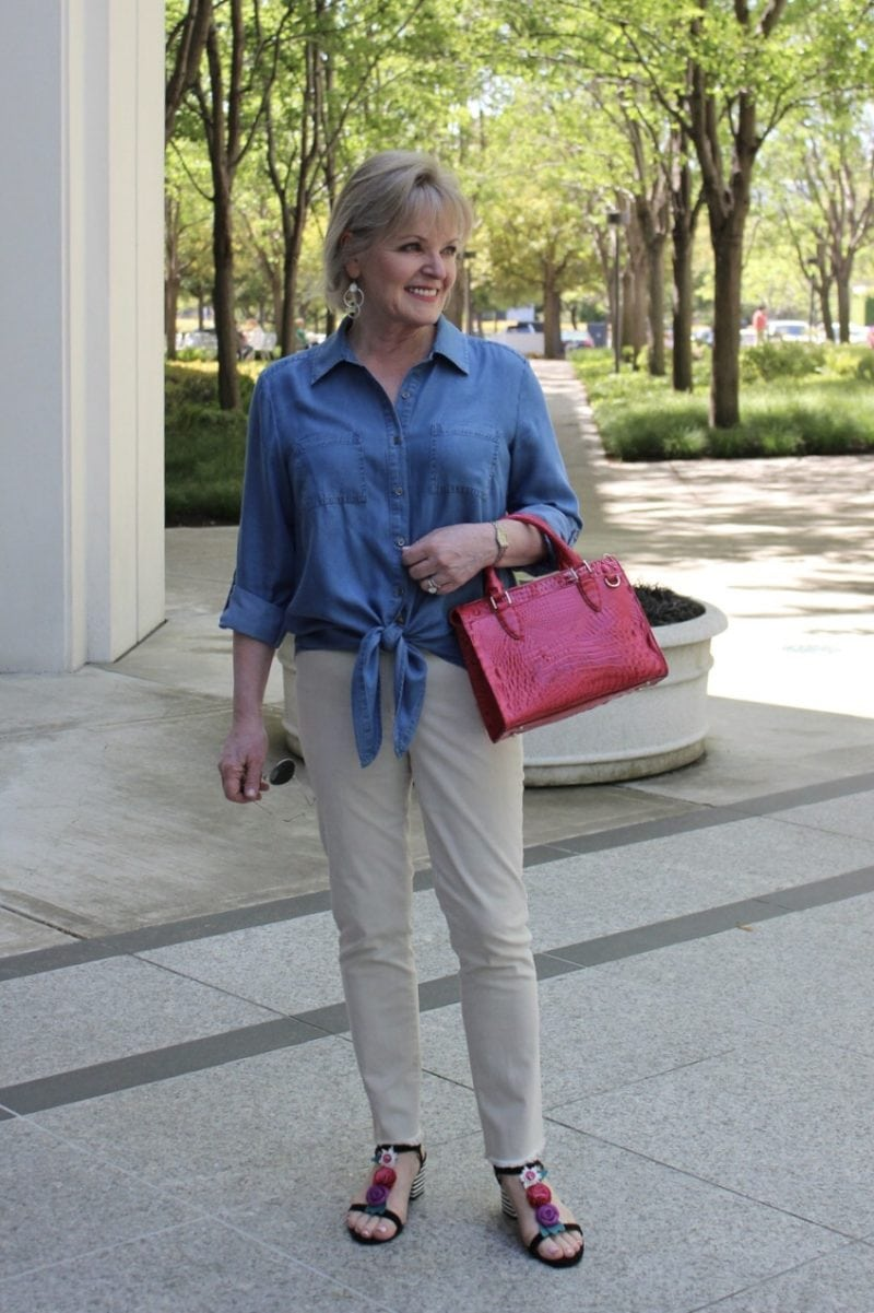 Jennifer Connolly of A Well Styled Life modeling Melbourne Anywhere Satchel from Macy's