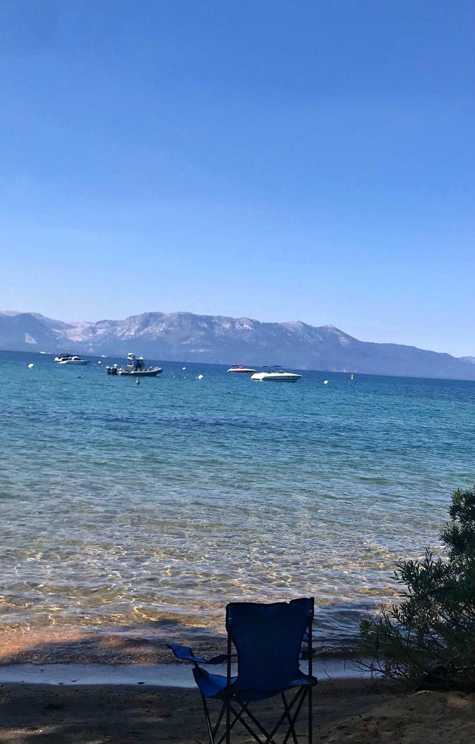 the shoreline at Lake Tahoe