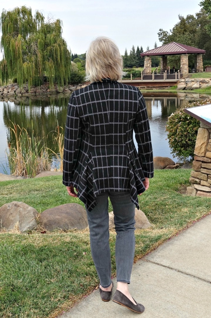 Jennifer Connolly of A Well Styled Life modeling Harper Jacket by Alembika for Artful Home