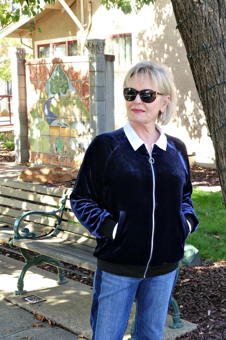 Modeling velvet baseball jacket on A Well Styled Life
