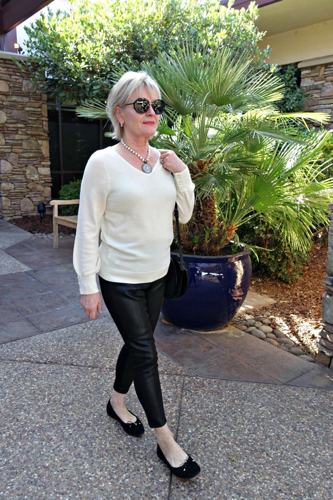 how to wear leather leggings over 50