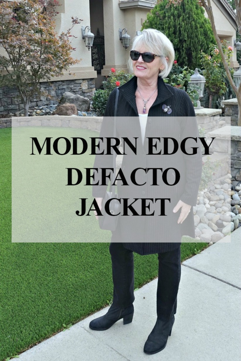 style blogger Jennifer Connolly of A Well Styled Life styling Defacto jacket from Artful Home