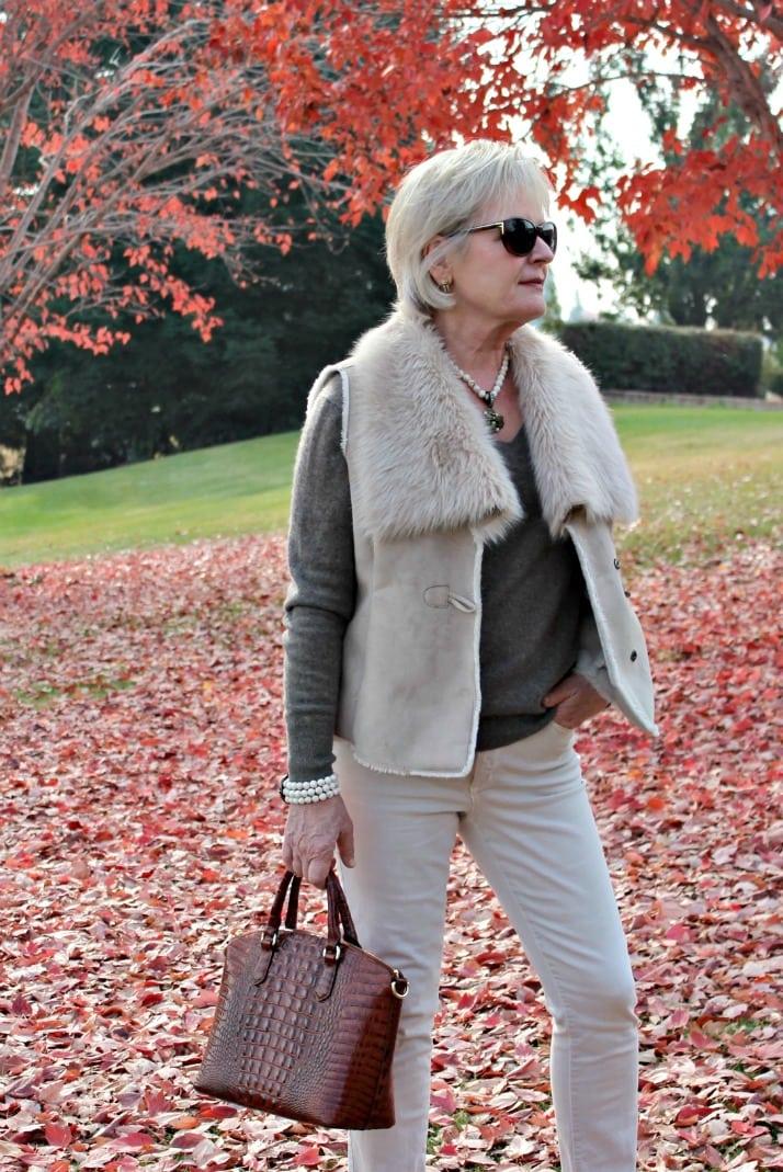 beige cashmere and faux fur vest