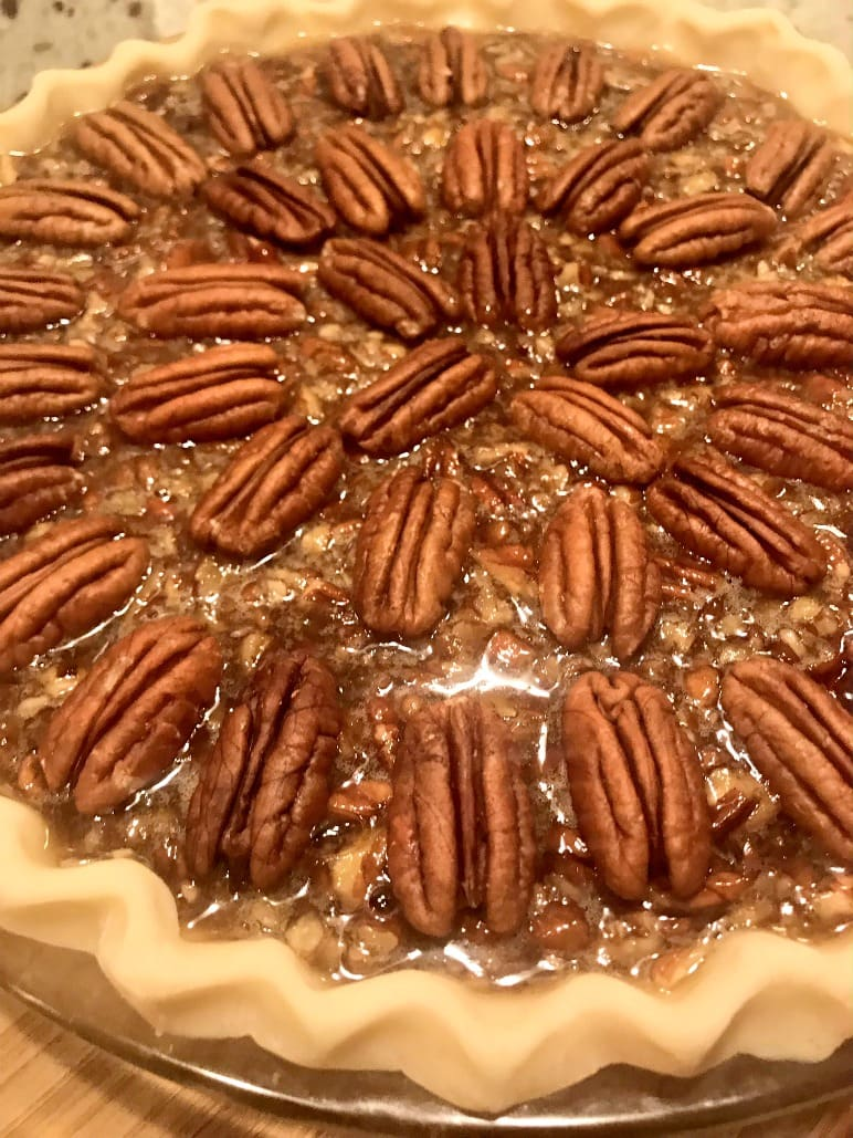 pecan pie ready to go into the oven on A Well Styled Life