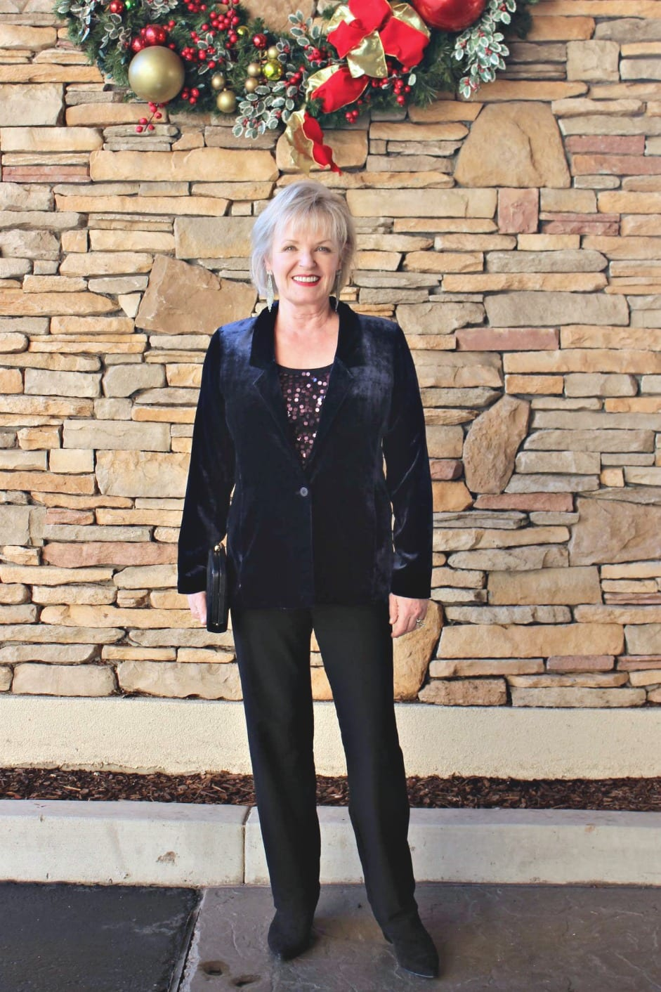 EILEEN FISHER velvet jacket on A Well Styled Life