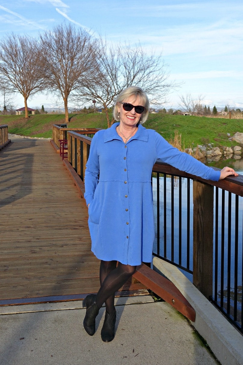 Jennifer from A Well Styled Life wears Bee Jacket from Artful Home in Periwinkle Blue
