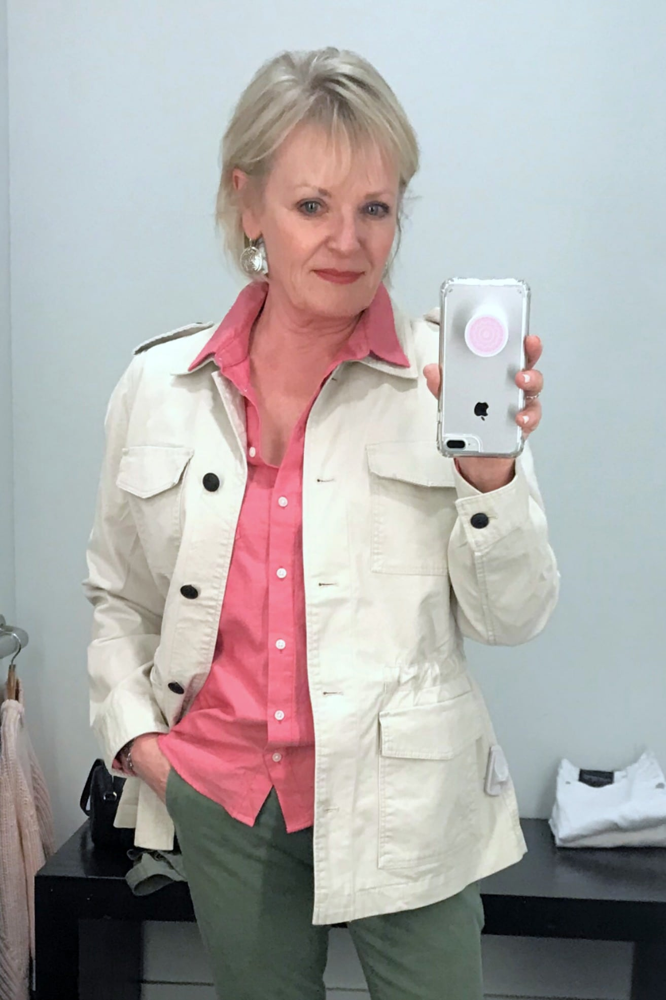 Jennifer Connolly of A Well Styled aALAife wearing oxford shirt and utility jacket from Banana Republic