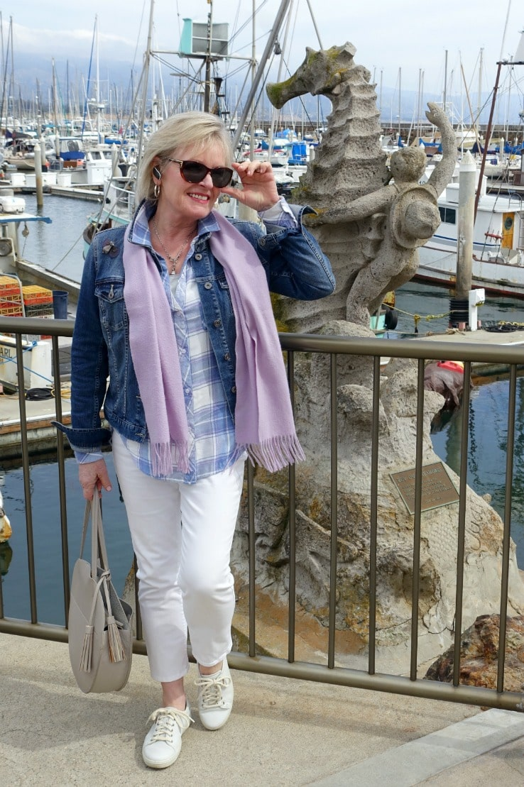 Jennifer of A Well Styled Life wearing Rails flannel shirt over Chico's white jeans