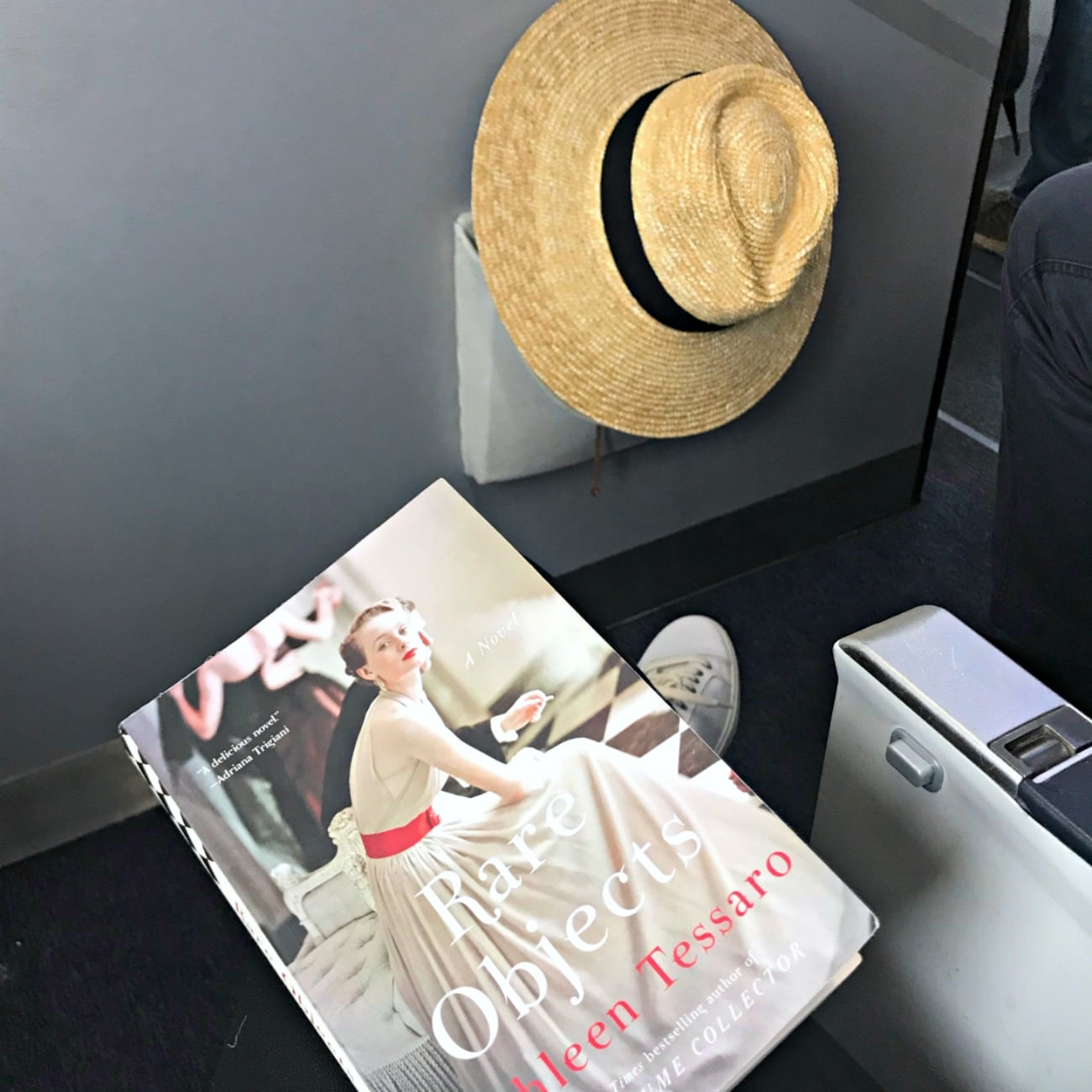 Rare Objects book and straw hat on flight