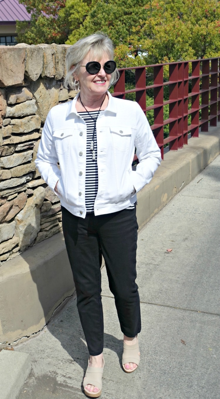 Jennifer from A Well Styled Life styling Clarks wedges from Macy's