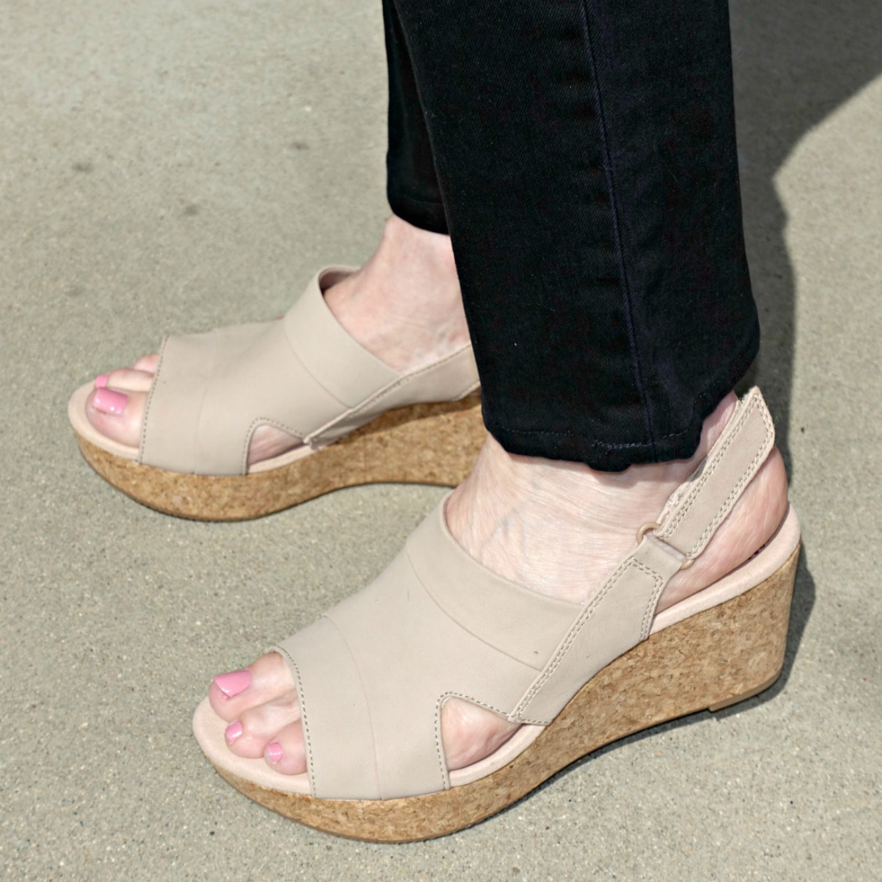 side view of Clarks wedge showing adjustable ankle strap