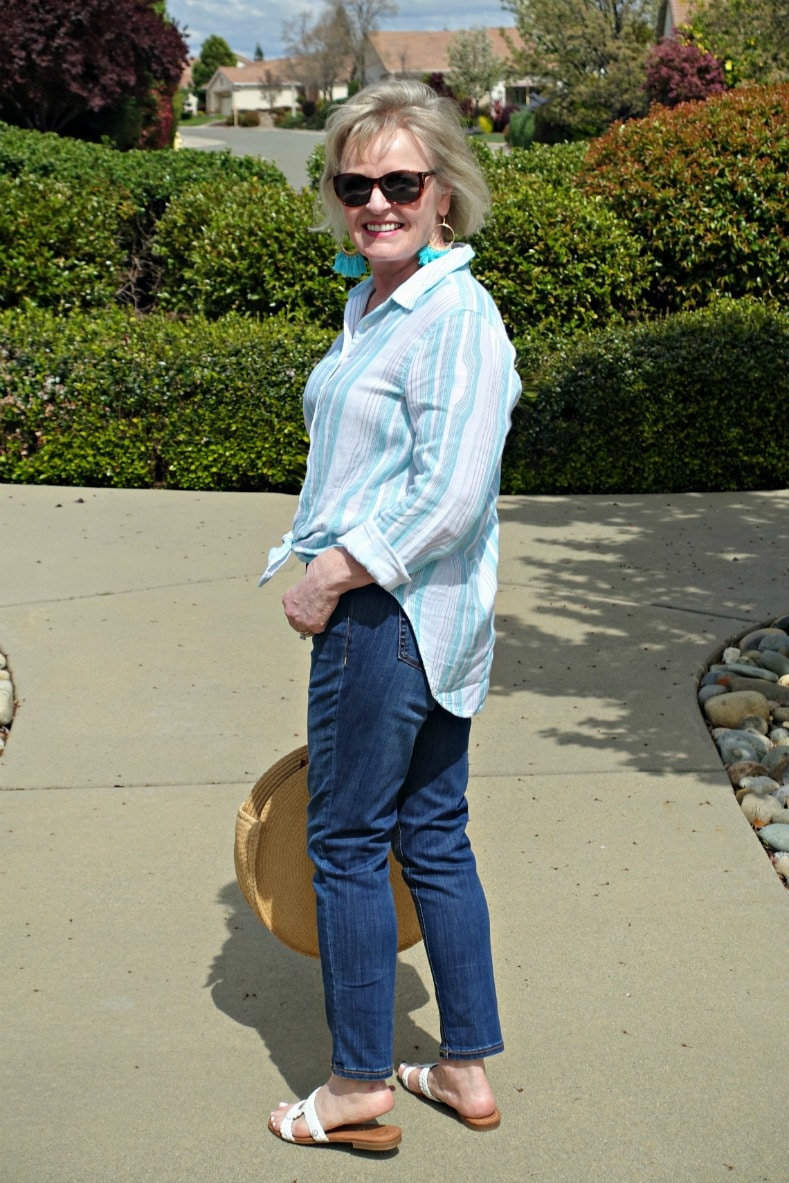 casual outfit of striped shirt and blue jeans from Walmart on A Well Styled Life