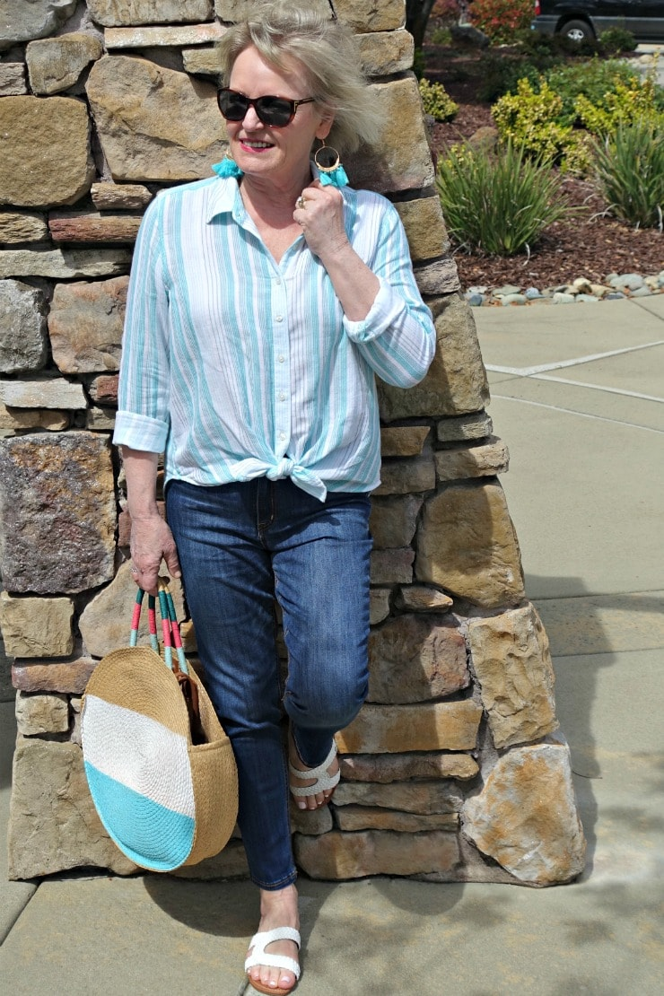 over 50 blogger Jennifer Connolly of A Well Styled Life wearing casual striped shirt and blue jeans from Walmart